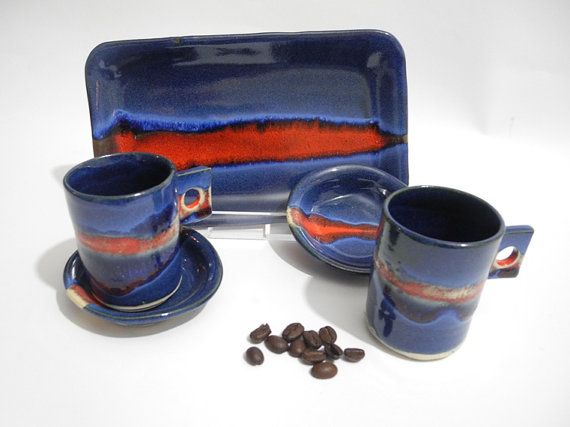 Espresso Coffee Serving Set, Modern Ceramic Drinkware, Coffee Gift Set Handmade in Pacific Blue and Red Pottery