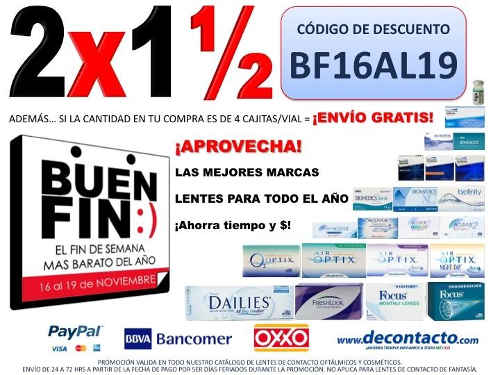 Psst!!! La mejor oportunidad del año para comprar Lentes de Contacto 2x1½ #ElBuenFin