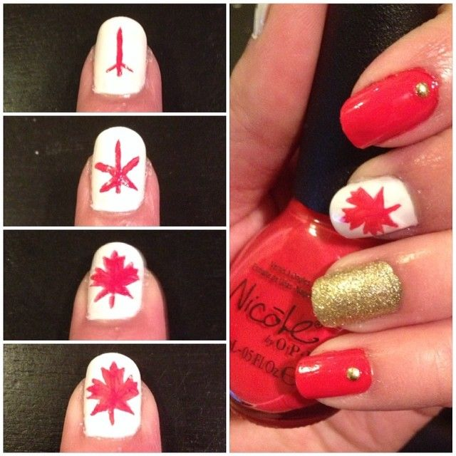 how to maple leaf Canadian nail art design #makeupbysehar