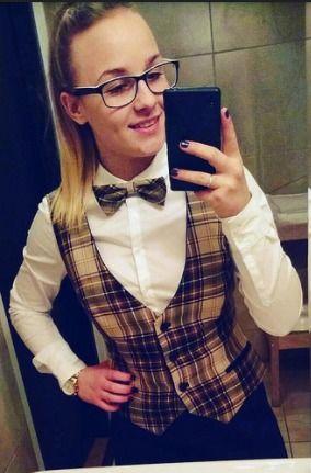 Selfie In Work Uniform With Cute Bow Tie   Karla   Flickr