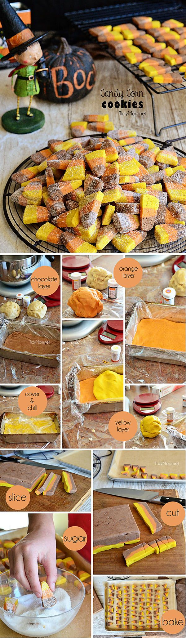 Easy Candy Corn Butter Cookie recipe and tutorial at TidyMom.net
