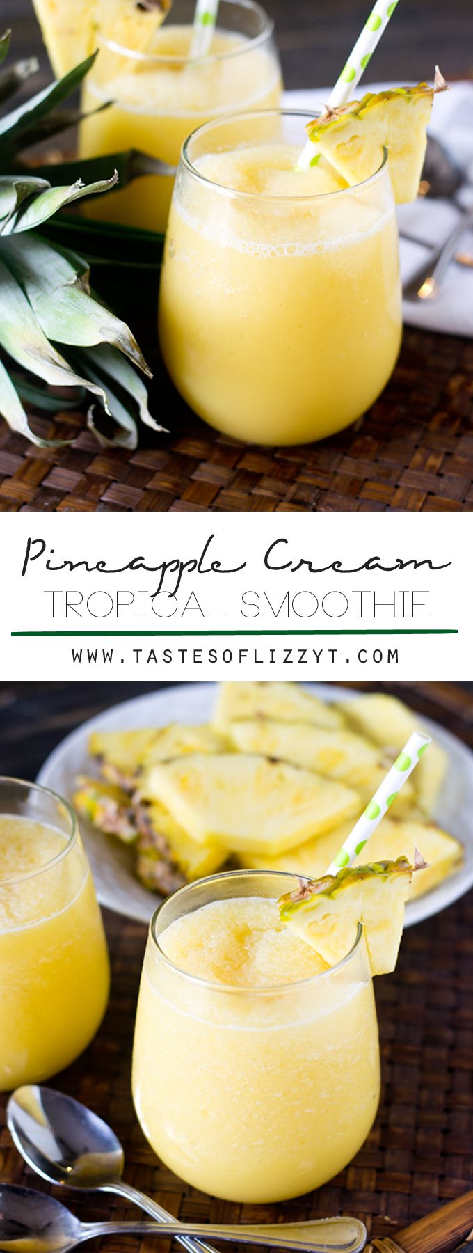 Pineapple Cream Tropical Smoothie Recipe - Tastes of Lizzy T. Sweet, creamy and tangy, this Pineapple Cream Tropical Smoothie with pineapple and a hint of orange is sure to refresh you on a hot summer day. It's dairy free and has no added sugar!