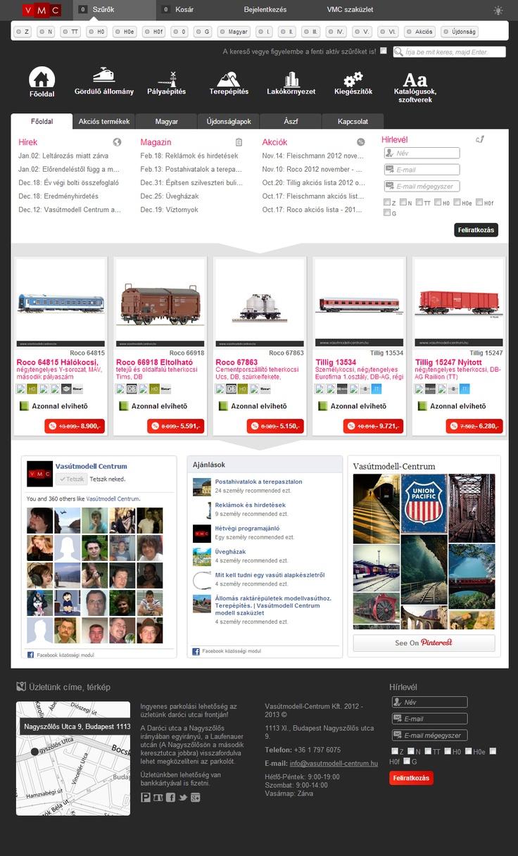 Webshop frontpage design