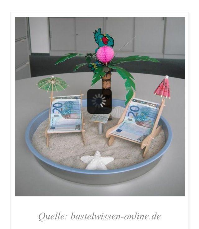 DIY Geldgeschenk Strand Urlaub Urlaubsgeld DIY Present Gift Money Mehr