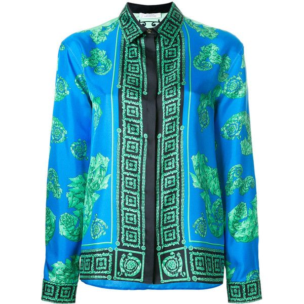 Versace Collection Greek Key Print Shirt ($438) ❤ liked on Polyvore featuring tops, green long sleeve top, green top, silk shirt, versace shirt and green shirt