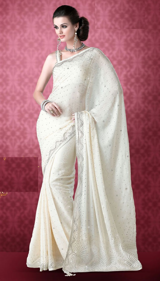 Off White Color Faux Georgette Saree [Prince-4524124] - $111.00 : Designer Sarees | Indian Saree | Bridal Wedding Sarees | Salwar Kameez | Buy Saris Online