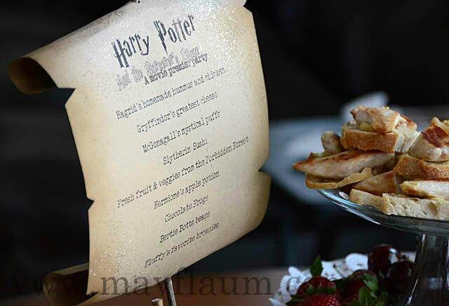 Harry Potter Menu | HARRY POTTER PARTY | Pinterest | Harry ...