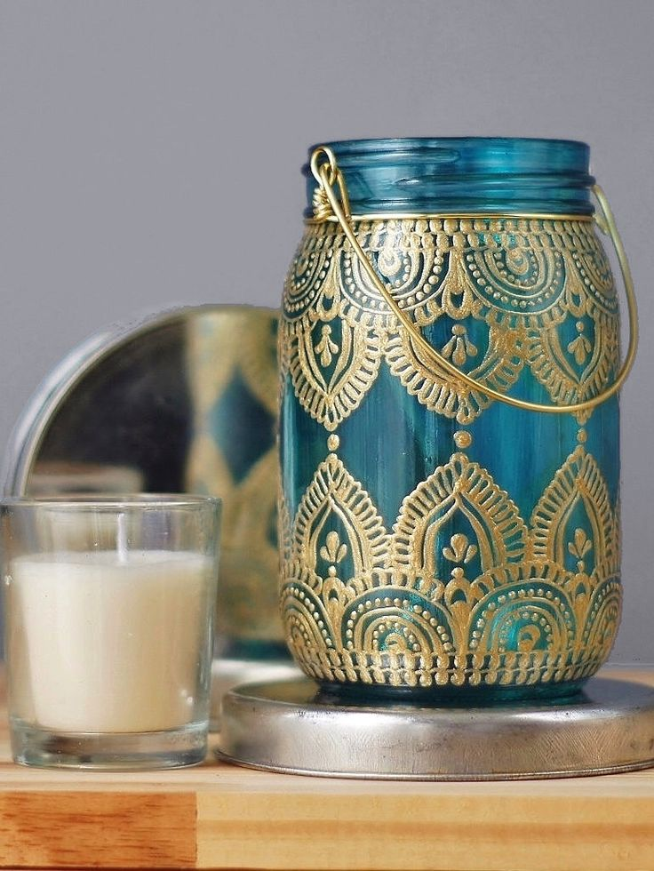 Gypsy Decor Mason Jar Candleholder, Turquoise Glass with Gold Detailing by LITdecor on Etsy https://www.etsy.com/listing/231860041/gypsy-decor-mason-jar-candleholder