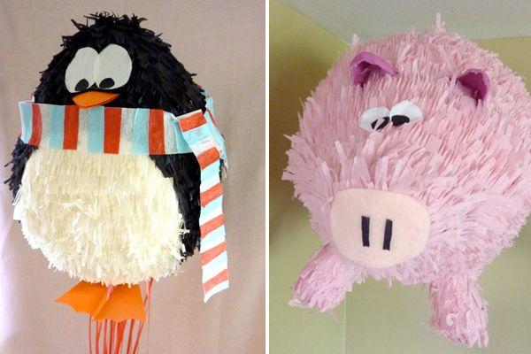 Penguin and pig piñatas!