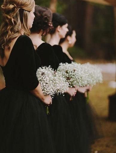 Knee Length V Neck V Back Black Bridesmaid Dresses For