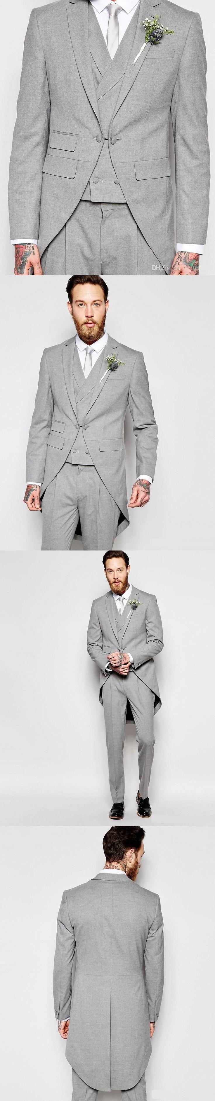 Classic Light Grey Men Suits With Long Coat 2017 Elehgant Groomsmen Wedding Tuxedos Best Men Suits (Coat+Vest+Pants+Tie)