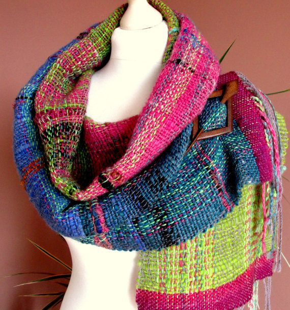 Soft Wool Wrap Shawl,Handspun Hand Dyed and Handwoven Women's Shawl,Natural Wool Gradient Yarn Scarf.