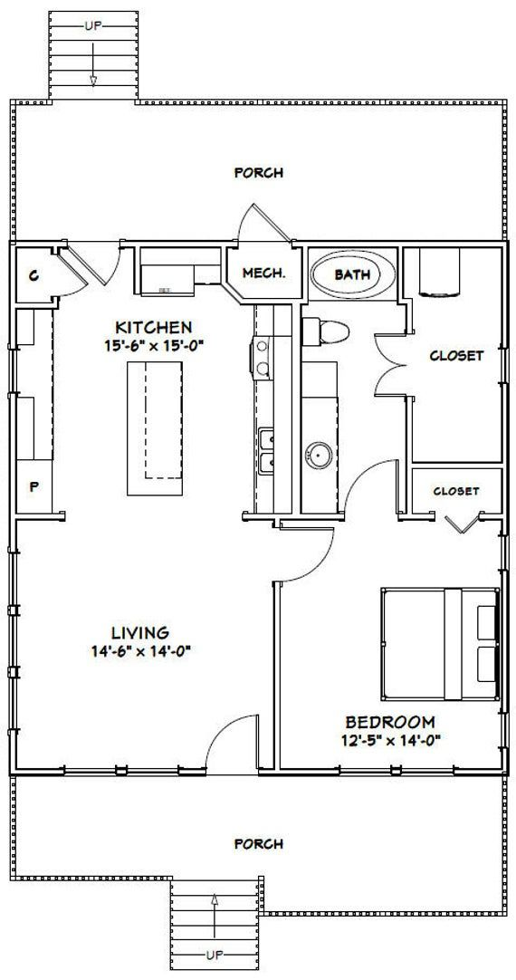 28x30 House 1 Bedroom 1 Bath 840 Sq Ft Pdf Floor Plan Instant Download Model 1a Tiny House Floor Plans Small House Floor Plans Tiny House Plans