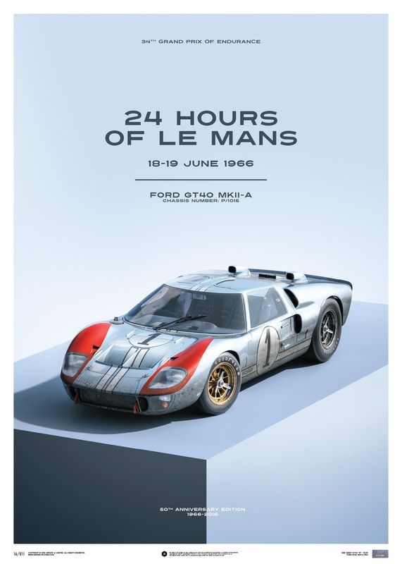 Ford Gt40 Blue 24h Le Mans 1966 Limited Poster Ford Gt40