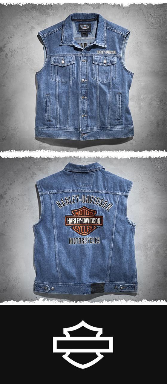 A symbol of tough. | Harley-Davidson Men's Bar & Shield Logo Denim Vest