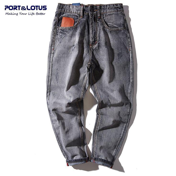 PORT et LOTUS Hommes De Mode Croix-pantalon Denim Rayé Jeans Marque  Vêtements Longues En Coton Lâche Pantalon Hommes de Jeans 5135