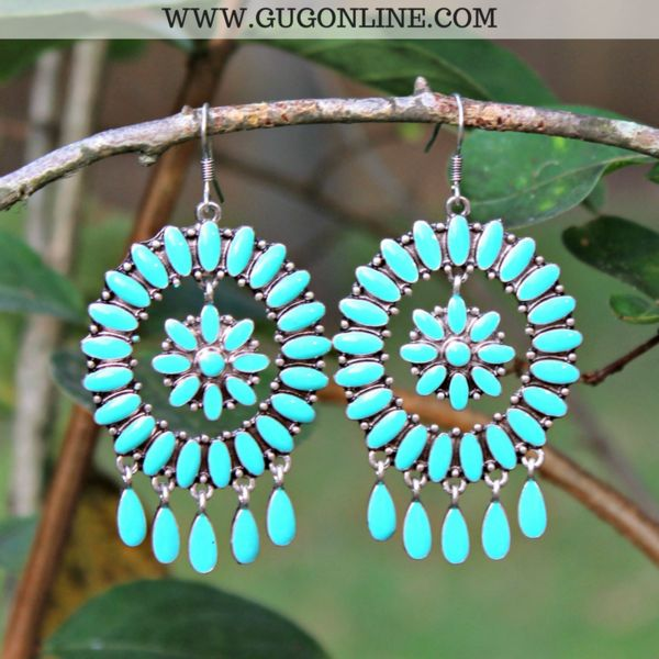 Turquoise Dangle Earrings with Flower Center – Giddy Up Glamour Boutique
