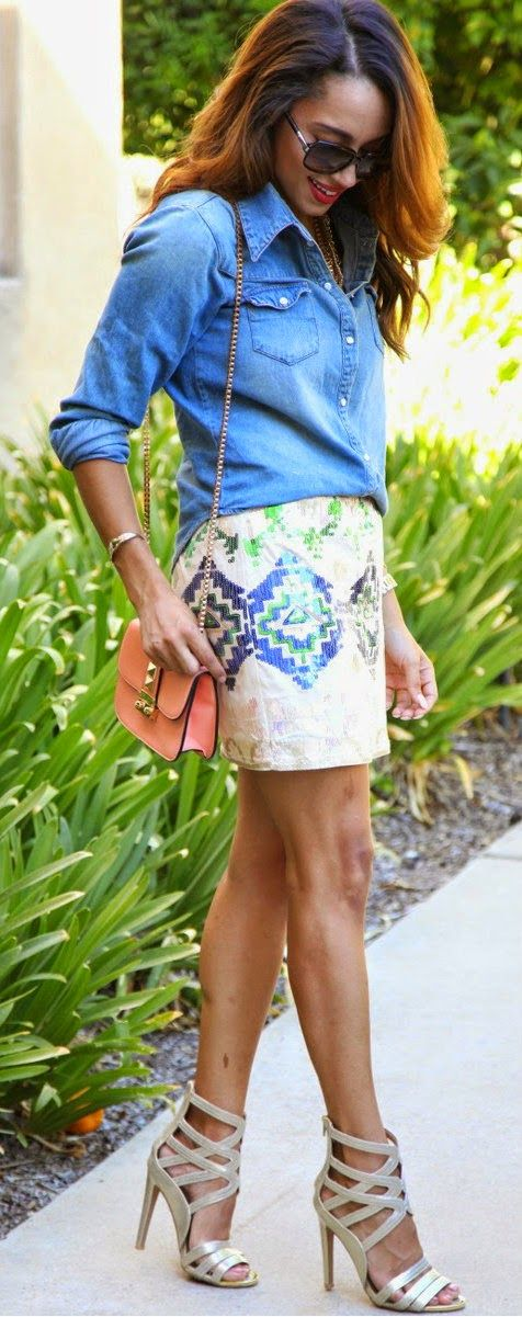 Sequins Shorts Top, Denim Shirt