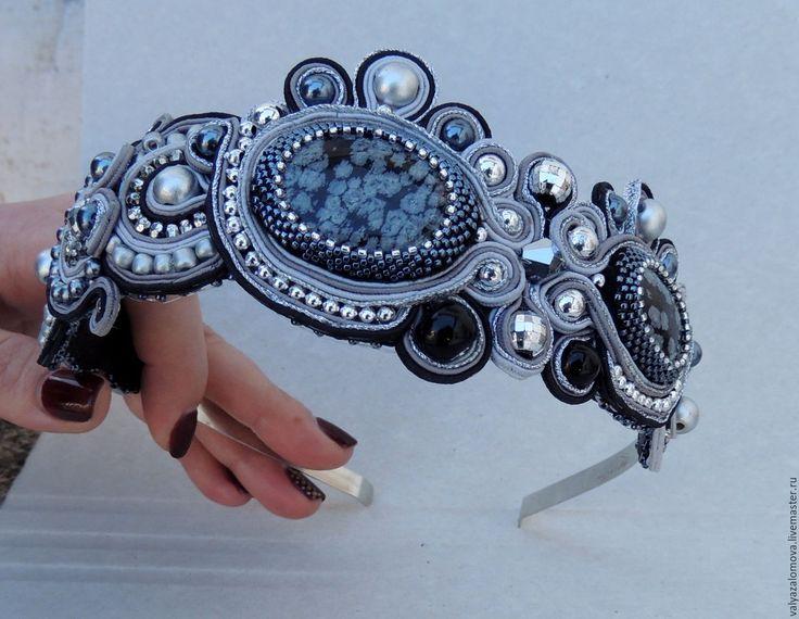 """Купить Ободок """"Серебро"""" - серебряный, выпускной бал, ободок для волос, ободок, диадема"""