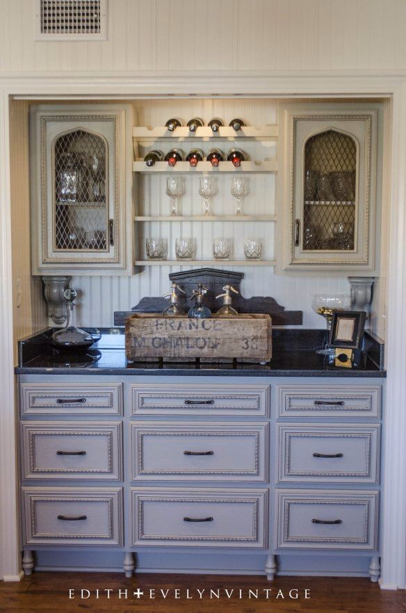 Bar Cabinet painted Pussywillow by Sherwin Williams then glazed with Valspar Antiquing Glaze in Aspaltum