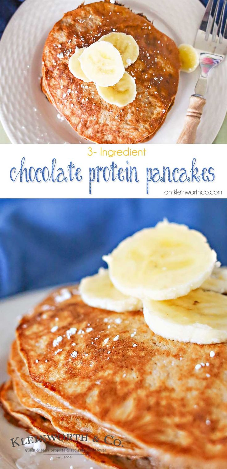With just bananas, eggs & chocolate protein powder you can make delicious 3 Ingredient Chocolate Protein Pancakes that are healthy & keep you full all day! on kleinworthco.com