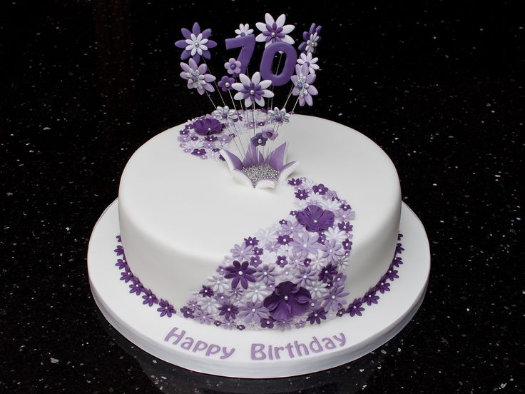 70th Lilac Flower Cake | 70th birthday cake with flower casc… | Flickr