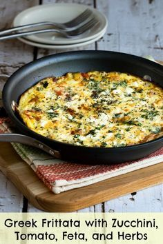I love coming up with zucchini recipes every year, but this Greek Frittata with Zucchini, Tomato, Feta, and Herbs is one I've been making for nearly ten years, and I love this frittata for breakfast, lunch, or dinner. [from KalynsKitchen.com] #LowCarb #GlutenFree #MeatlessMonday