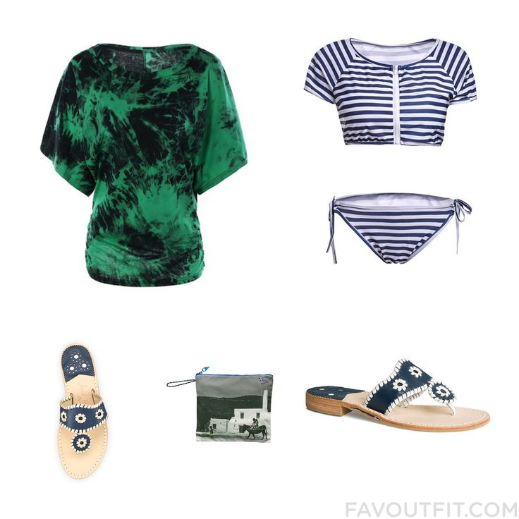 Outfit Goods Featuring T-Shirt 2 Piece Swim Wear Jack Rogers Sandals And Navy Leather Sandals From July 2016 #outfit #look