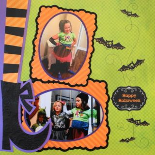 This is a Halloween scrapbook page with a witch theme. Love these Cricut witch feet from Creepy Critters and the frames. To learn how to make this layout, go to my blog at Halloween Scrapbook 3 - with Fall & Thanksgiving - Me and My Cricut