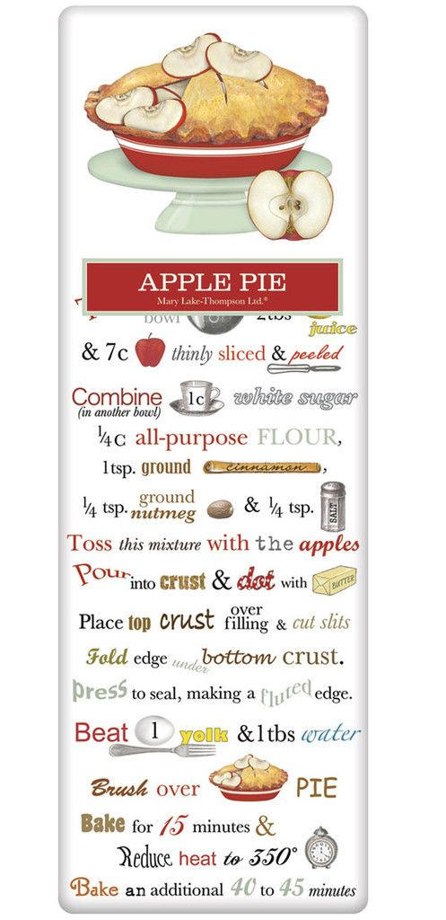 Today is National Apple Pie day! Celebrate with this amazing recipe, always handy on a flour sack dish towel! www.aloveofdishtowels.com