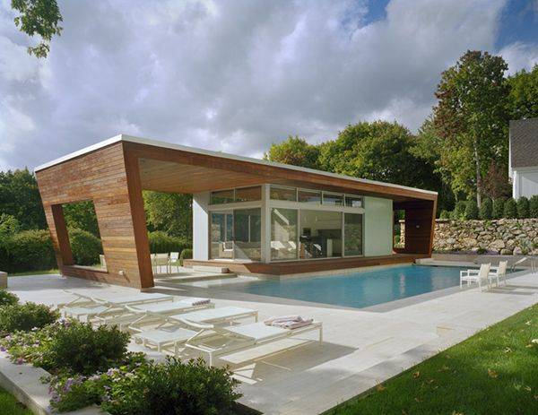 Pool House Design architecture modern minimalist pool house design with glass bi fold doors and small living room 16 Fascinating Pool House Ideas