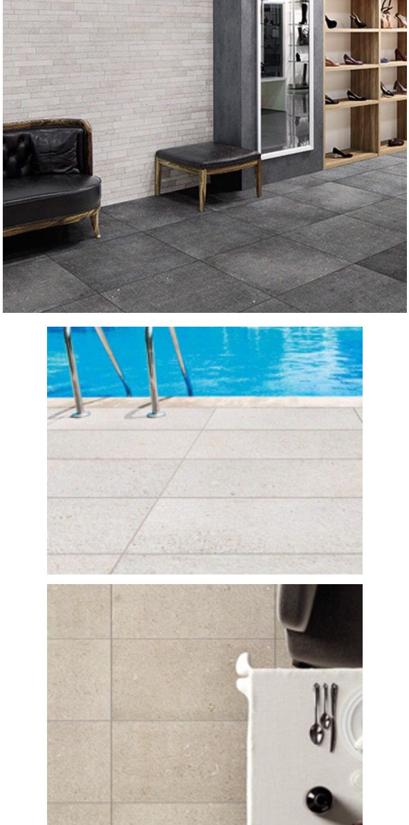 New from Florida Tile - Span - Blue Shell stone inspired HDP color-body porcelain tile. Available in exterior finish 2-colors 12x24, Standard finish 12x24 & 24x24. #floridatile, #vikingdist #ictctile #modern #tile #patio #outdoor