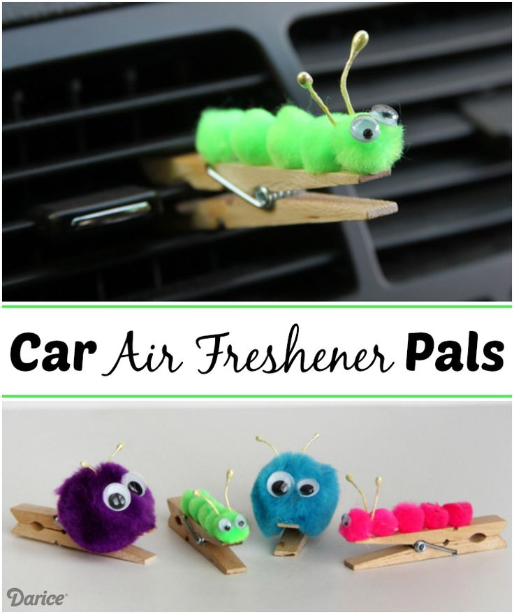 Essential oils can be added directly to these DIY car air freshener pom pom pals to keep your vehicle smelling fresh!