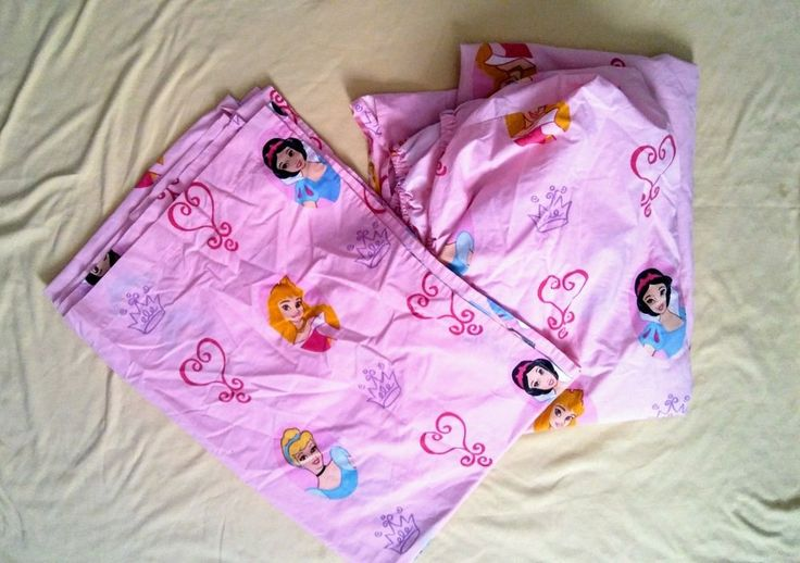 Disney Princess Pink Twin Size Flat & Fitted Bed sheet  #Disney