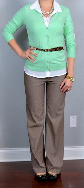 "Love the belt with this outfit! ""Outfit Posts: outfit post: mint cardigan, white button down shirt, tan pants"