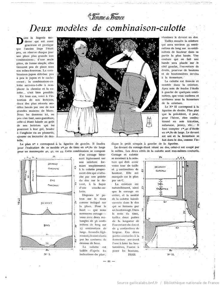 Les Modes de la femme de France combination-culotte