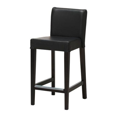 IKEA - HENRIKSDAL, Barhocker, Weiches, strapazierfähiges und pflegeleichtes Leder, das schön altert.Mit gepolstertem Sitz für erhöhte Bequemlichkeit.Mit Fußstütze.Stuhlbeine aus Massivholz, einem strapazierfähigen Naturmaterial.