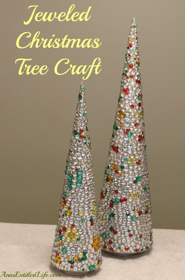 Jeweled Christmas Tree Craft;  An easy, DIY holiday craft that adds sparkle and shine to your Christmas decor!