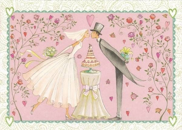 Ретро открытка с годовщиной свадьбы