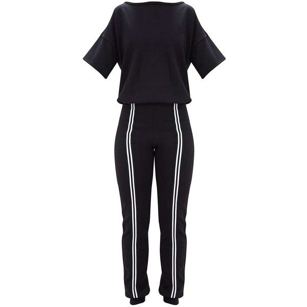 Black Loop Back Sports Stripe Jumpsuit ($42) ❤ liked on Polyvore featuring jumpsuits, striped jumpsuit, striped jumpsuits, sport jumpsuit and jump suit