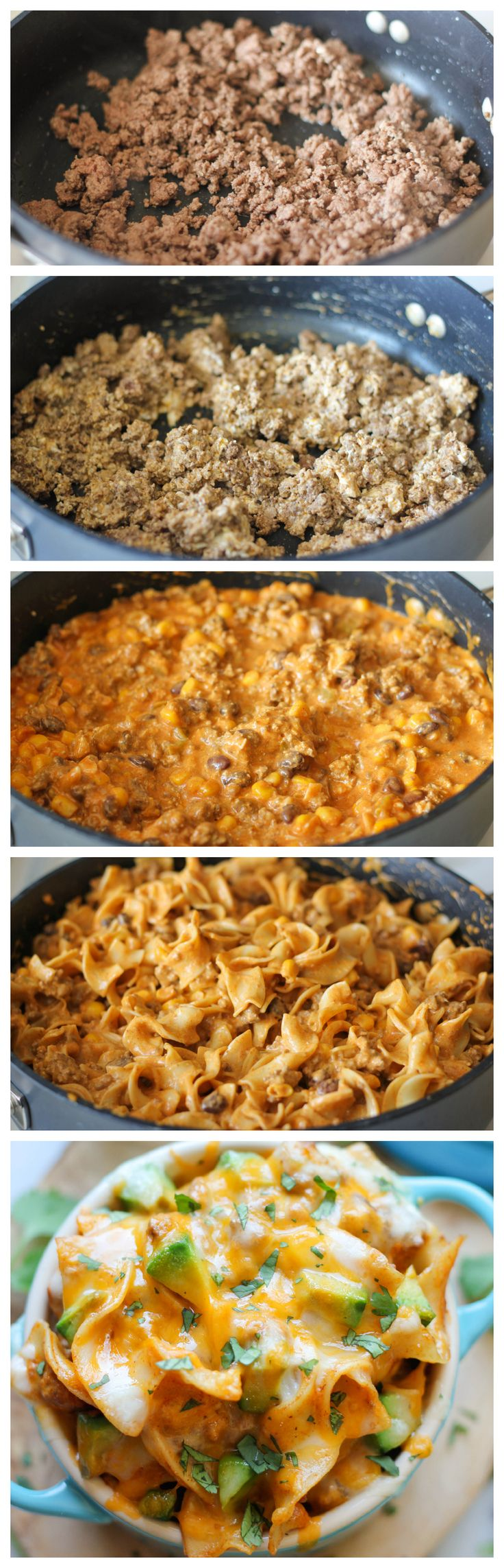 Enchilada Pasta Recipe ~ All the flavors of cheesy enchiladas are tossed together in this quick and easy pasta dish!