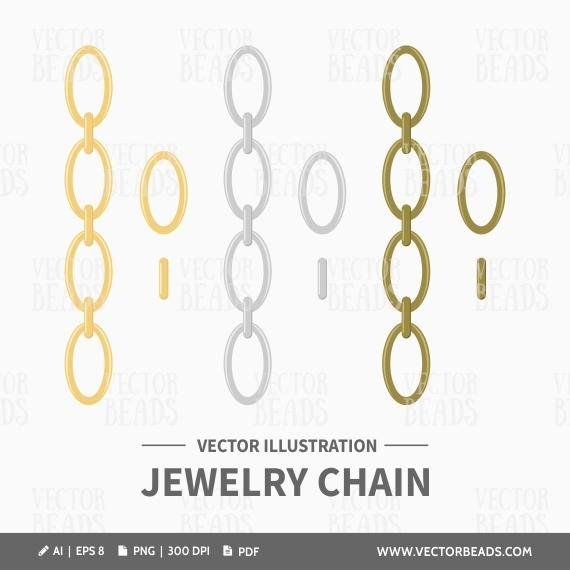 Vector Clipart Of Chains For Drawing Jewellery Instructions Etsy Vector Clipart Clip Art Vector