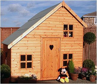 The Alpine playhouse has a loft with the option to add a side door and balcony. A perfect den for your child.  Available to order form Adrian Hall Garden Centres, Feltham