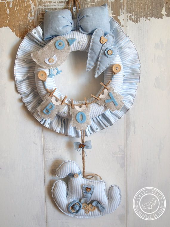 Light Blue Baby Boy Birth Wreath Hospital Door Hanger by #LollyCloth. Check out www.lollycloth.etsy.com
