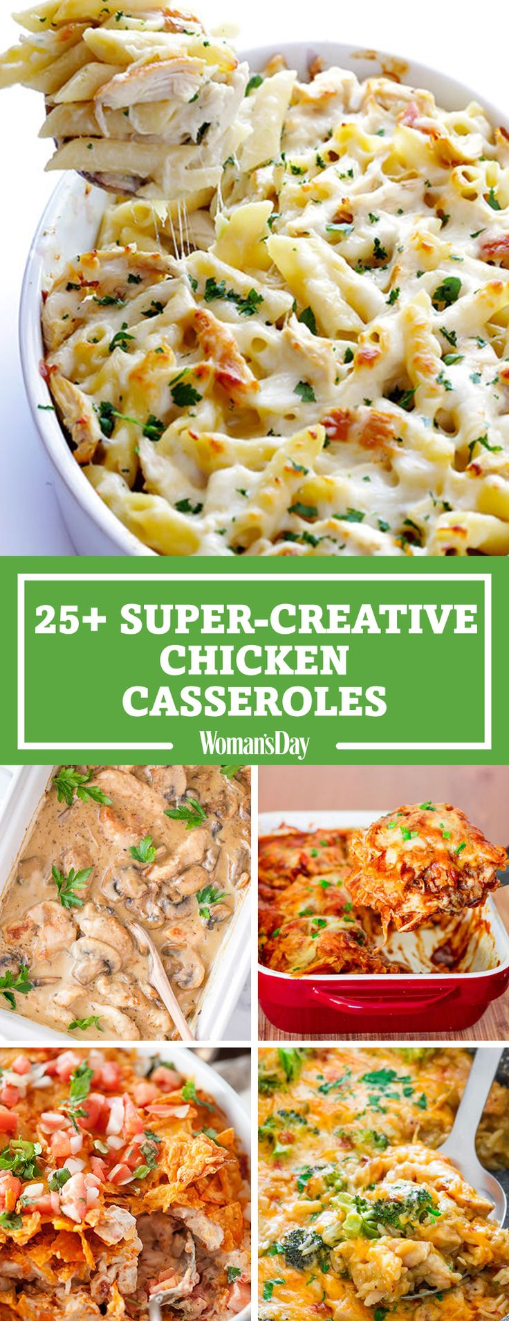 Trust us: You're going to want to make every chicken casserole recipe on this list. These super-creative chicken casserole recipes will make your weeknights feel like a night out. Surprise the family with Chicken Alfredo Baked Ziti, a dish they are bound to love.