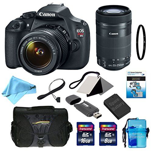 Canon EOS Rebel T5 Digital SLR with EF-S 18-55mm f/3.5-5.6 IS II Standard Zoom Lens + EF-S 55-250mm f/4-5.6 IS STM Telephoto Zoom Lens + 11-Piece Deluxe Accessory Bundle (99917)  http://www.lookatcamera.com/canon-eos-rebel-t5-digital-slr-with-ef-s-18-55mm-f3-5-5-6-is-ii-standard-zoom-lens-ef-s-55-250mm-f4-5-6-is-stm-telephoto-zoom-lens-11-piece-deluxe-accessory-bundle-99917-2/