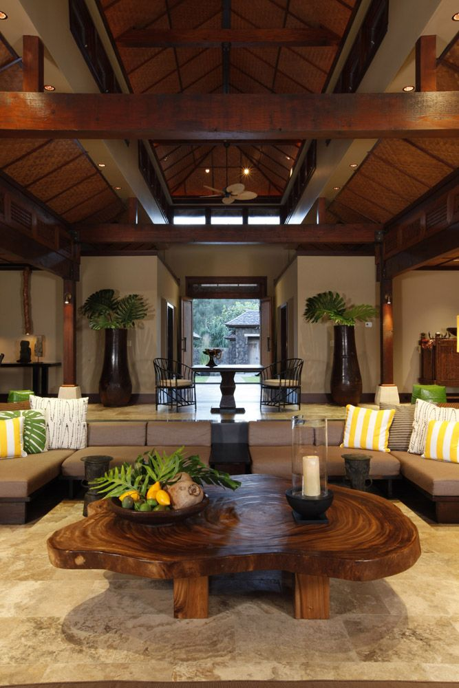 85 best hawaii living rooms images on pinterest beach for Tropical interior design ideas