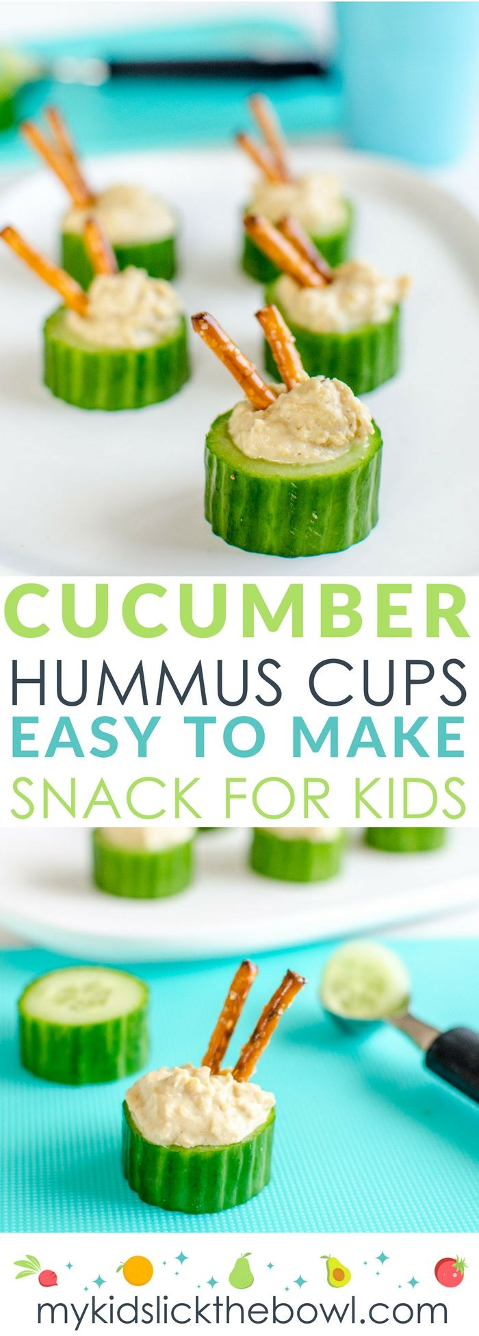 Cucumber hummus cups an easy healthy snack idea for kids could also be used for appetizers and finger foods #healthysnack #kidsfood