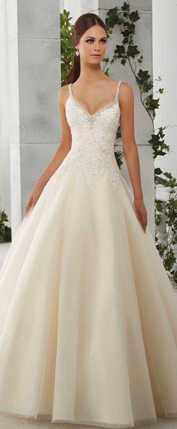 Charming Tulle & Satin Spaghetti Straps Neckline A-Line Wedding Dresses With Embroidey & Beadings