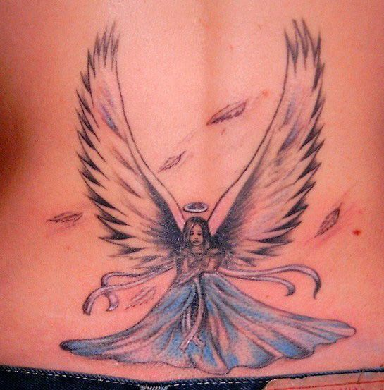 Angel with scattered feathers tattoo